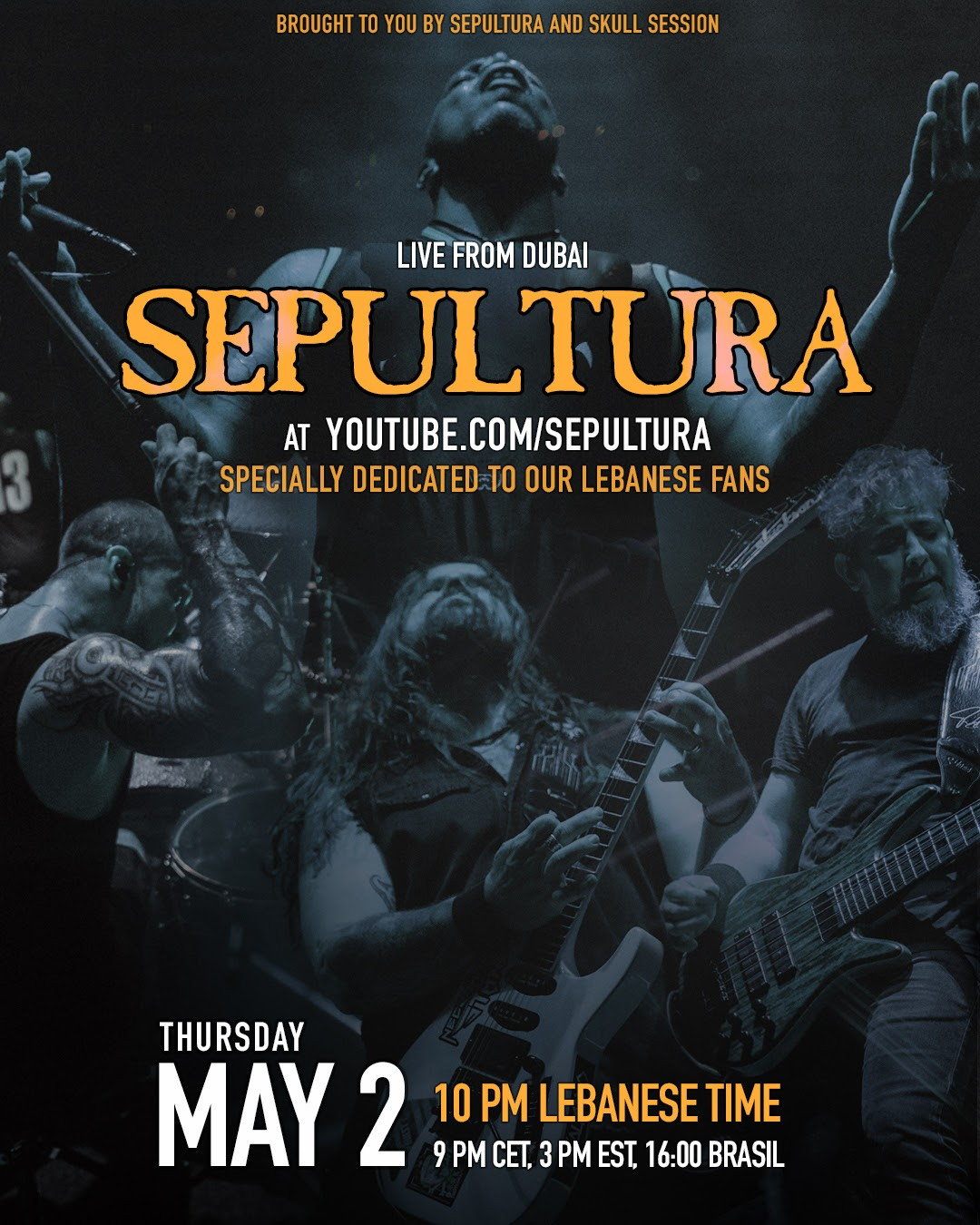 Sepultura - Banned To Perform In Lebanon: To Stream Their Dubai Performance