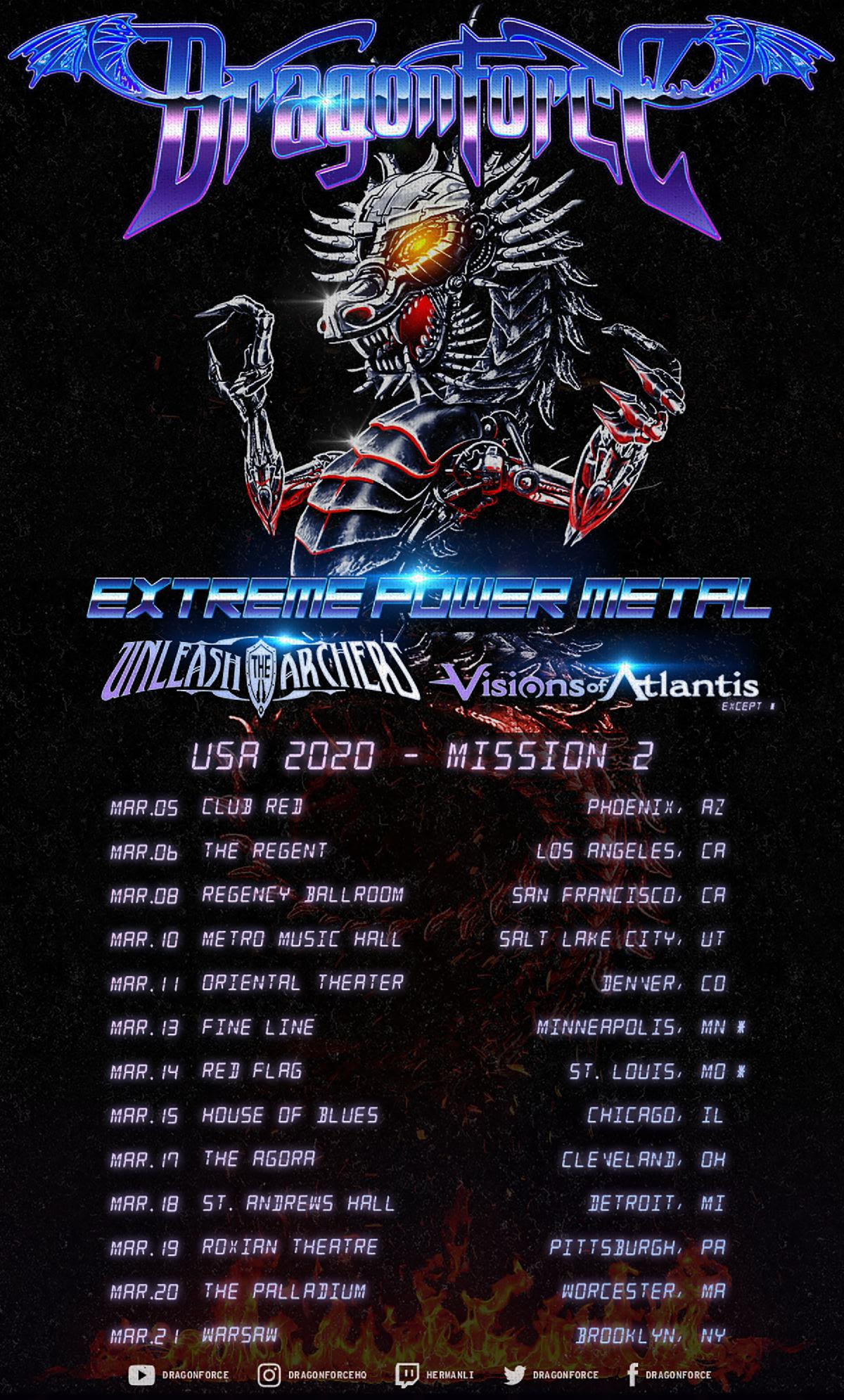 Dragonforce Announces U.S. Tour With Unleash The Archers & Visions Of Atlantis