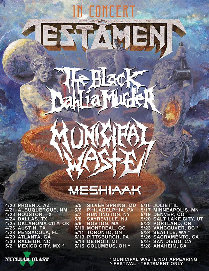 Testament Announce North American Tour With The Black Dahlia Murder & Municipal Waste