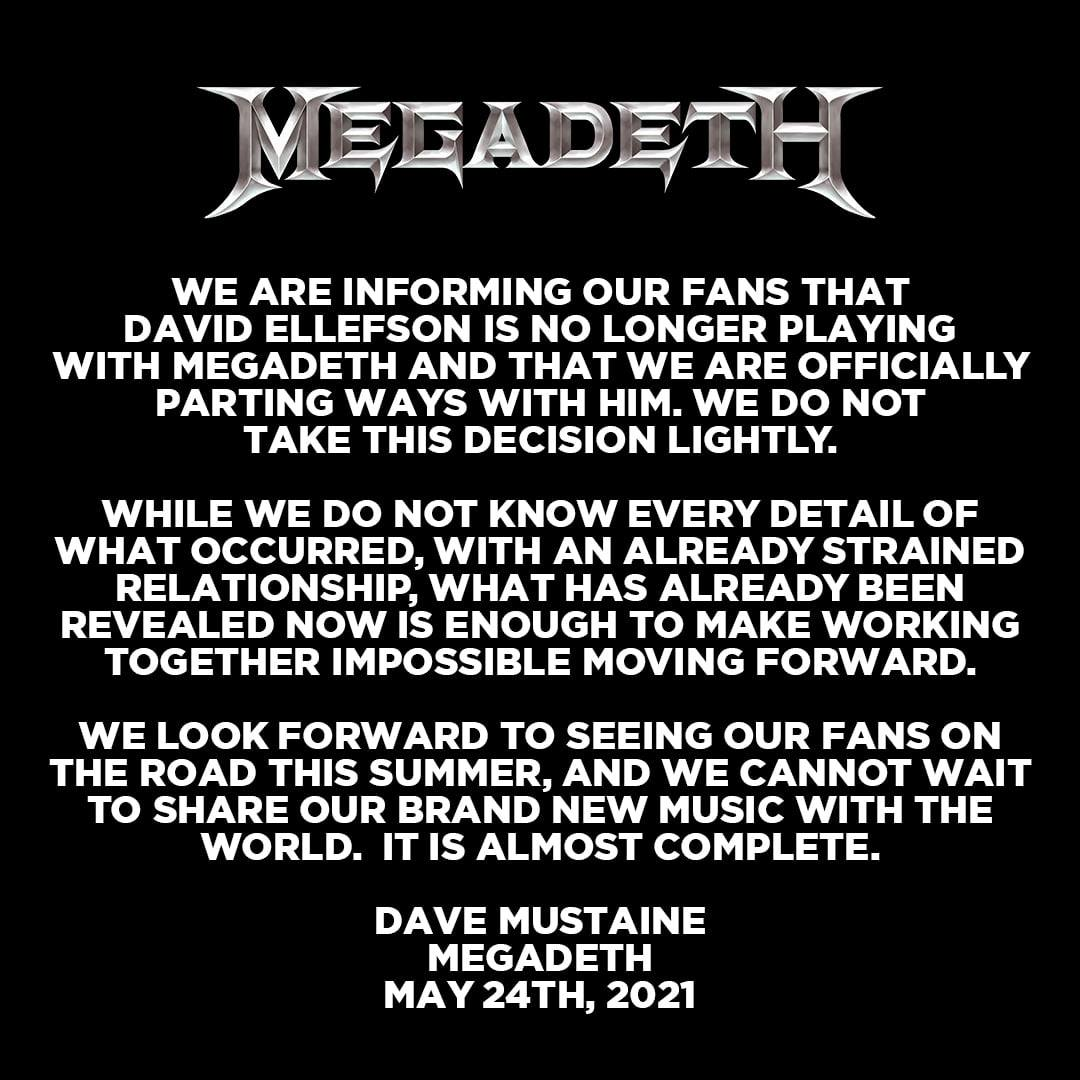Megadeth Is 'Officially Parting Ways' With Bassist David Ellefson After Reports Of Leaked Graphic Videos
